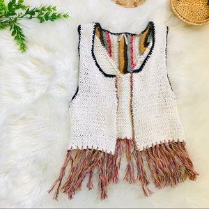 BKE Open Knit Crochet Fringe Vest